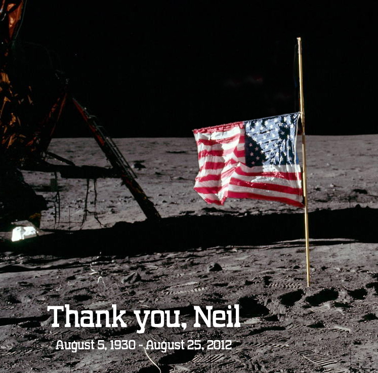 Neil Armstron Apollo 11 flag at half mast on the moon