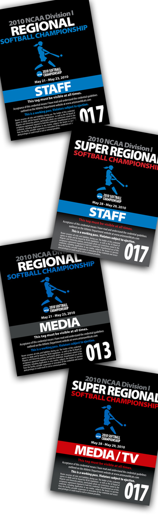 Arizona softball credentials 2010